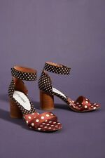 Anthropologie Jeffrey Campbell Purdy Brown Polka Dot Heels Size 7.5 New