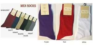 Men's High Quality Solid Color Dress Socks One Size 10~13