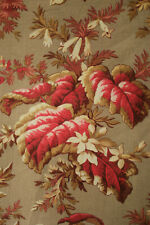Fabric Antique French charming floral design gray & red w/ metal curtain rings