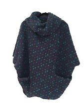 Made In Italy Boiled Wool Teal Spotted Jacket 3/4 Sleeves One Size