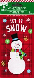 Snowman Let It Snow 8 Money Gift Card Holders Christmas House Greeting Cards