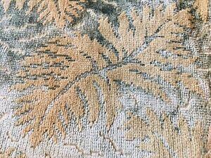 Antique Edwardian Fern Cut Velvet Fabric ~ Aqua blue green