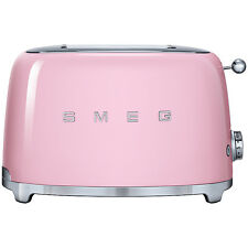 SMEG Pink TSF01PKUK 2 Slice Toaster Xtra Wide Bagel Retro 50's 2 Year Guarantee
