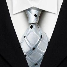 LK1007 White Black Pattern Silk Classic Jacquard Woven Men's Tie Necktie