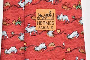 """AUTHENTIC HERMES PARIS 7689 OA RABBITS/ORANGE Men's Neck Tie W:3 3/4"""" by L:59"""""""