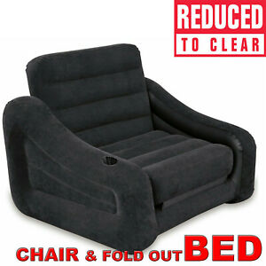SOFA CHAIR - BED Intex Inflatable Pull Out Flocked Camping Chair