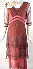 Vintage Style Cocktail Dress Gatsby Nataya Lace Layered XS-S Pink/Brown Victoria