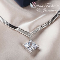 18K White Gold Plated Simulated Diamond 4.0 Ct Elegant Letter V Banquet Necklace
