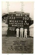 More details for real photo cricket postcard kent v essex at brentwood total 803 may 1934