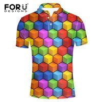 Stylish Check T Shirt Top Short Sleeve Cool Shirts for Men Size S M L XL 2XL 3XL