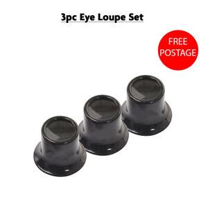 3Pcs EYE LOUPE SET Watchmakers Jewellers Lens Loop Magnifying Eyeglass