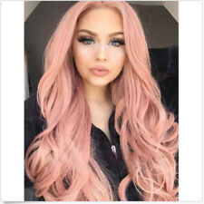 """24"""" Pink Hair Lace Front Wig Natural Heat Resistant Synthetic Hair Costume Wig"""