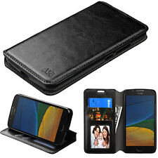 For Motorola Moto E4 / G5 Leather Flip Wallet Case Cover Folio Pouch Stand BLACK