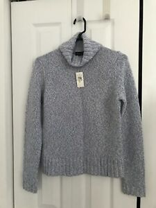 NWT Ann Taylor Powder Blue White Marbled Knit 100% Cashmere Turtleneck Sweater M