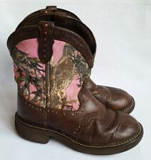 Justin Gypsy Girls Cowboy Western Boots 5B Brown Leather Pink Camo