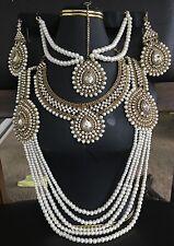 Mughal Style Polki Kundan Pearl Indian Jewelry Set Include Matha Patti.