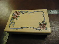 ROMANTIC ROSE RIBBON FRAME RUBBER STAMP INVITATION SCRAPBOOK OLD STYLE VICTORIAN