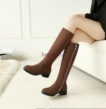 Women's Round Toe Flat Heels side Zip Casual Knee High Thigh Boots Plus Size 13