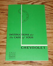 1935 Chevrolet Master De Luxe Passenger Models Owners Operators Manual 35 Chevy