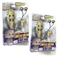 Lot 2 NECA Limited Edition Guardians Of The Galaxy Dancing Groot Gift Set Bundle