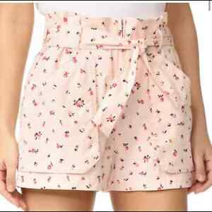 Rebecca Taylor Mia Dainty Floral Pink Hi Waisted Shorts Tie Belt Women's 6
