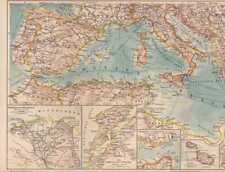 Paesi mediterranei ITALIA TURCHIA CARTINA da 1888