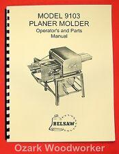 BELSAW 9103 Planer Molder Operator's & Parts Manual 0060
