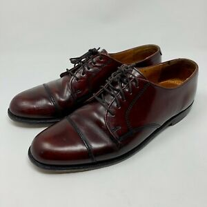 Cole Haan Cap Toe Mens Oxford Shoes Burgandy Made In USA Size 9.5