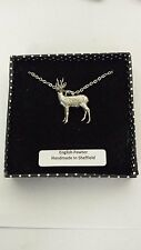 A45 Roebuck English Pewter 3D Platin Halskette Handarbeit 18 cm