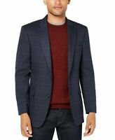 Tommy Hilfiger Mens Blazer Blue Size 50 Windowpane Print Two-Button $295 #050