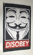 Disobey Banner Flag - Obey Supreme V For Vendetta Anonymous Mask Garage Man Cave