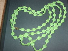 Vintage Long String Flapper Style Necklace Glass ? Apple Bright Green Heart Bead