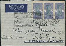 Lettre 1er vol AOF /Cote d'ivoire, aéromaritime & Air France, 1937,first flight