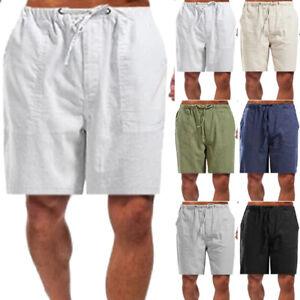 Leinen Herren Bermudas Shorts Sommer Strandhose Kurze Hose Beach Freizeithose
