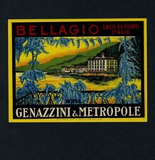 Hotel Genazzini & Metropole BELLAGIO ITALY * Old Luggage Label Kofferaufkleber