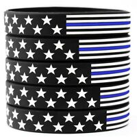 5 US Flag Stars and Stripes Wristband Featuring Thin Blue Line - USA Bracelets