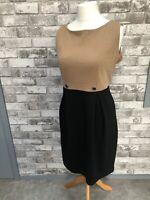 Tu Ladies Brown & Black Size 16 Smart Dress Stretchy