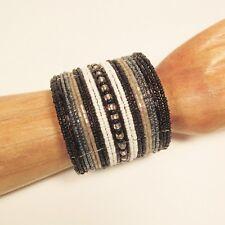 "2"" Wide Black White Bling Handmade Boho Beaded Bali Cuff Statement Bracelet"