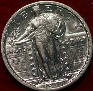 Uncirculated 1917-S Type II San Francisco Mint Silver Standing Liberty Quarter