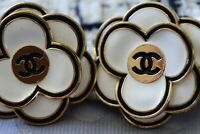 Two Stamped Vintage Chanel buttons lot of 2  cc  size 32 mm XXL   Camellia