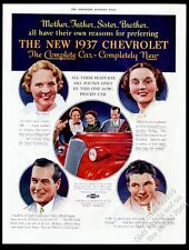 1937 Chevrolet red car mother sister father brother photo vintage print ad
