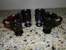 AVON 1876 CAPE COD RUBY RED SET OF 4 PEDESTAL/IRISH COFFEE MUGS