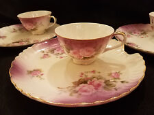 LEFTON China Heavenly Rose snack/luncheon sets(4)