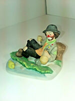 EMMETT KELLY Jr Clown Hobo VINTAGE Figurine FLAMBRO DRINKING AT THE Duck POND