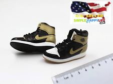 "1/6 men black gold sneakers basketball air for 12"" figure hot toys phicen ❶USA❶"