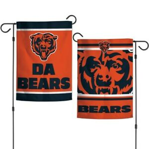 """CHICAGO BEARS DOUBLE SIDED GARDEN FLAG 12""""X18"""" YARD BANNER OUTDOOR RATED"""