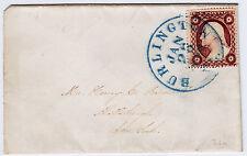 "#26A-3 Cents 1857, 21L10e, blue BURLINGTON/JAN/28/1859/Vt."" worn & overinked"