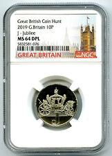 2019 10P GREAT BRITAIN ' J '- JUBILEE NGC MS64 DPL BRITISH COIN HUNT PROOF LIKE