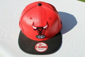 CHICAGO BULLS WINDY CITY RED LEATHER NEW ERA 9FIFTY STRAPBACK HAT