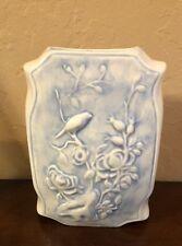 Vintage Glazed Porcelain Unique Vase Raised Bird & Flower Design